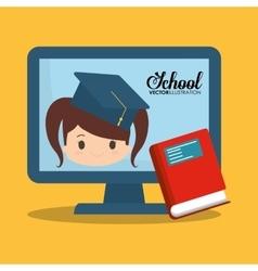 cartoon girl red book computer school vector image