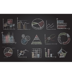 Chalk board charts vector image