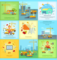 Construction banner set cartoon style vector