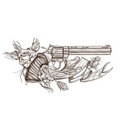Contour image of revolver roses and ribbon vector