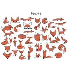 Cute fox sketch collection for your design vector
