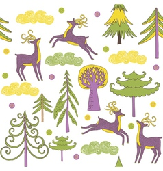 deer forest wallpaper vector image vector image