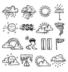 Doodle weather set vector