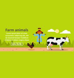 farm animals banner horizontal concept vector image