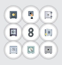 flat icon strongbox set of security saving safe vector image