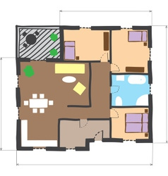 Floor plan of house colored doodle style vector