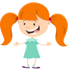 Girl with pigtails cartoon character vector