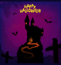 happy halloween poster design with traditional vector image vector image