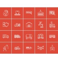 Industry sketch icon set vector image