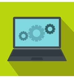 Laptop with gears icon flat style vector