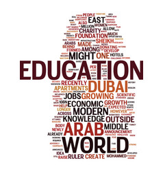 Middle east to be a knowledge hub text background vector