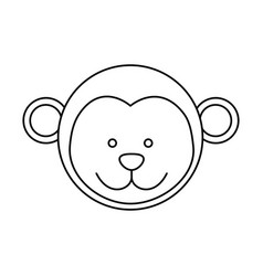 monochrome contour with male monkey head vector image vector image