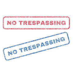 No trespassing textile stamps vector