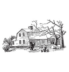One-storied gambrel roof attractive vintage vector