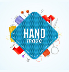 Realistic 3d hand made knitted concept vector
