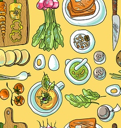 seamless pattern vegetarian vector image vector image