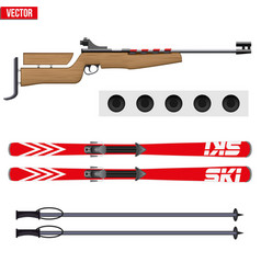 Set of biathlon sport vector