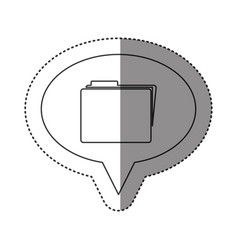 Sticker of monochrome contour of oval speech with vector