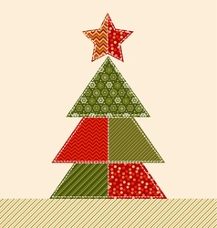 Traditional ornament patchwork xmas tree cosy vector