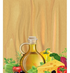 Vegetables olive oil wood vector image