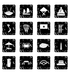 Vietnam icons set simple style vector