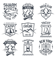 Vintage camping and sporting badges vector image vector image