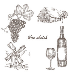 wine set hand drawn bottle of wine glass bunch vector image vector image