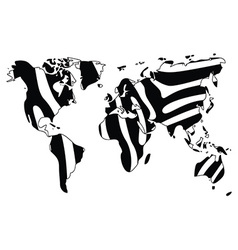 World map in animal print design zebra pattern vector