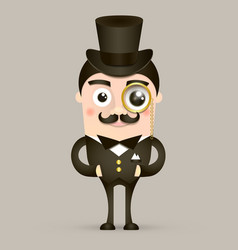 Vintage britain gentleman in hat vector