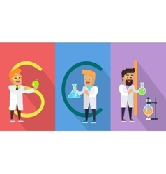 Science conceptual banner human characters vector