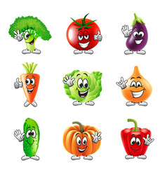 Funny cartoon vegetables icons set vector