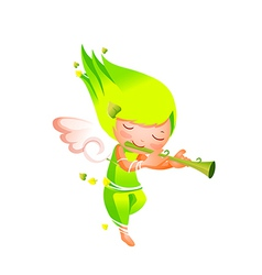 Close-up of girl holding flute vector