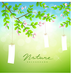 Tree and pink flower with white paper card vector