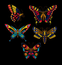 Butterfly embroidery for textile design vector