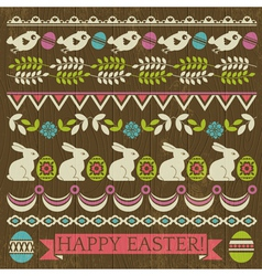 Set of lace paper with flower and easter eggs vector