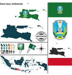 Map of east java vector