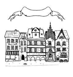 Sketch of an old european buildings with vector