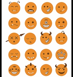 20 smiles vampires icons set orange vector