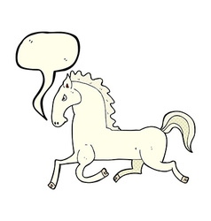 Cartoon running white stallion with speech bubble vector