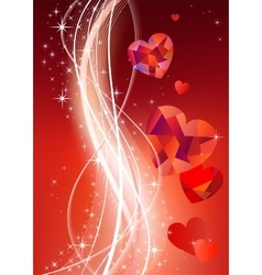 Valentines background with diamond hearts vector