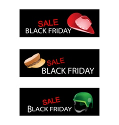 Hats and helmet on black friday sale banners vector
