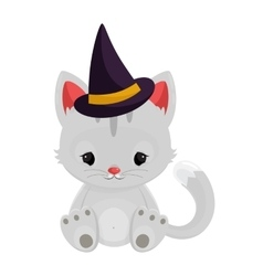 Halloween witch cat isolated on white background vector
