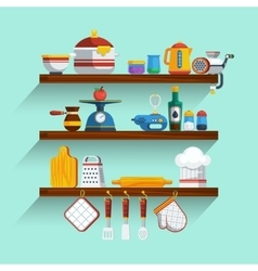 Kitchen Shelves Set vector image