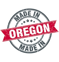 Made in oregon red round vintage stamp vector