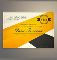 Awesome yellow and black certificate design vector