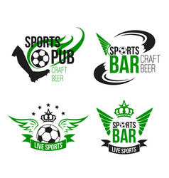 Ball icons soccer bar or football beer pub vector