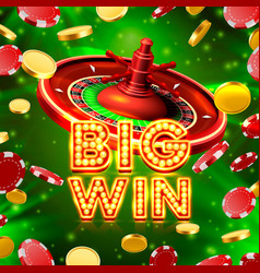 big win roulette casino signboard vector image vector image
