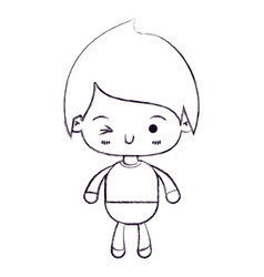 Blurred thin silhouette of kawaii little boy vector