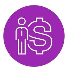 Businessman standing beside the dollar symbol line vector
