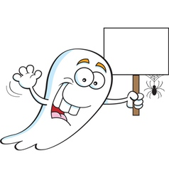 Cartoon ghost holding a sign vector